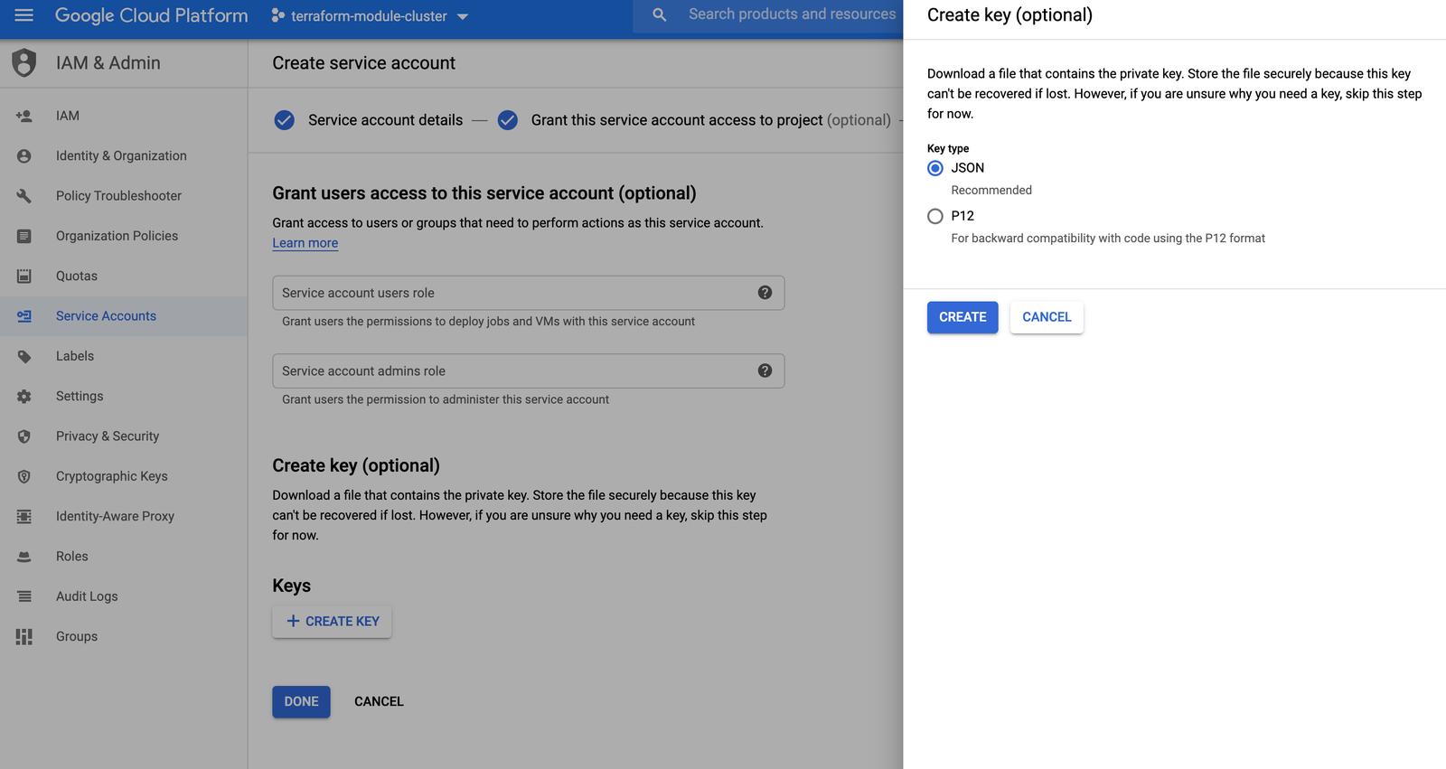 GCP Create service account key screnshot