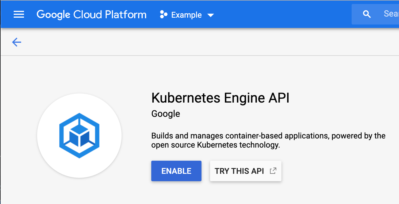 GCP Kubernetes Engine API Enable Screenshot