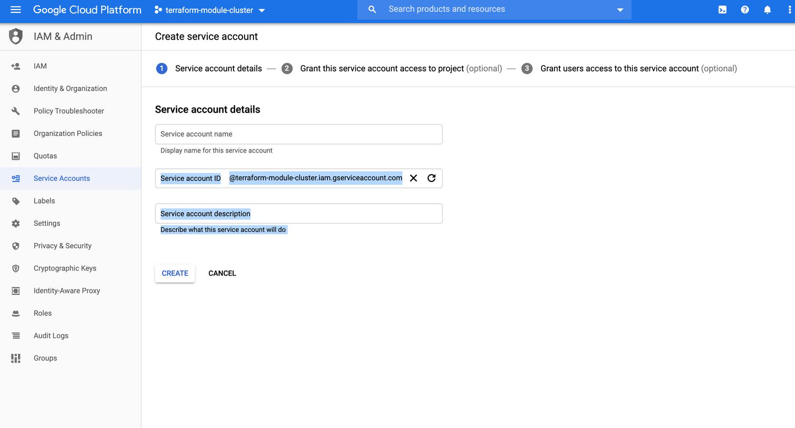GCP Screenshot IAM and ADMIN Service Accounts