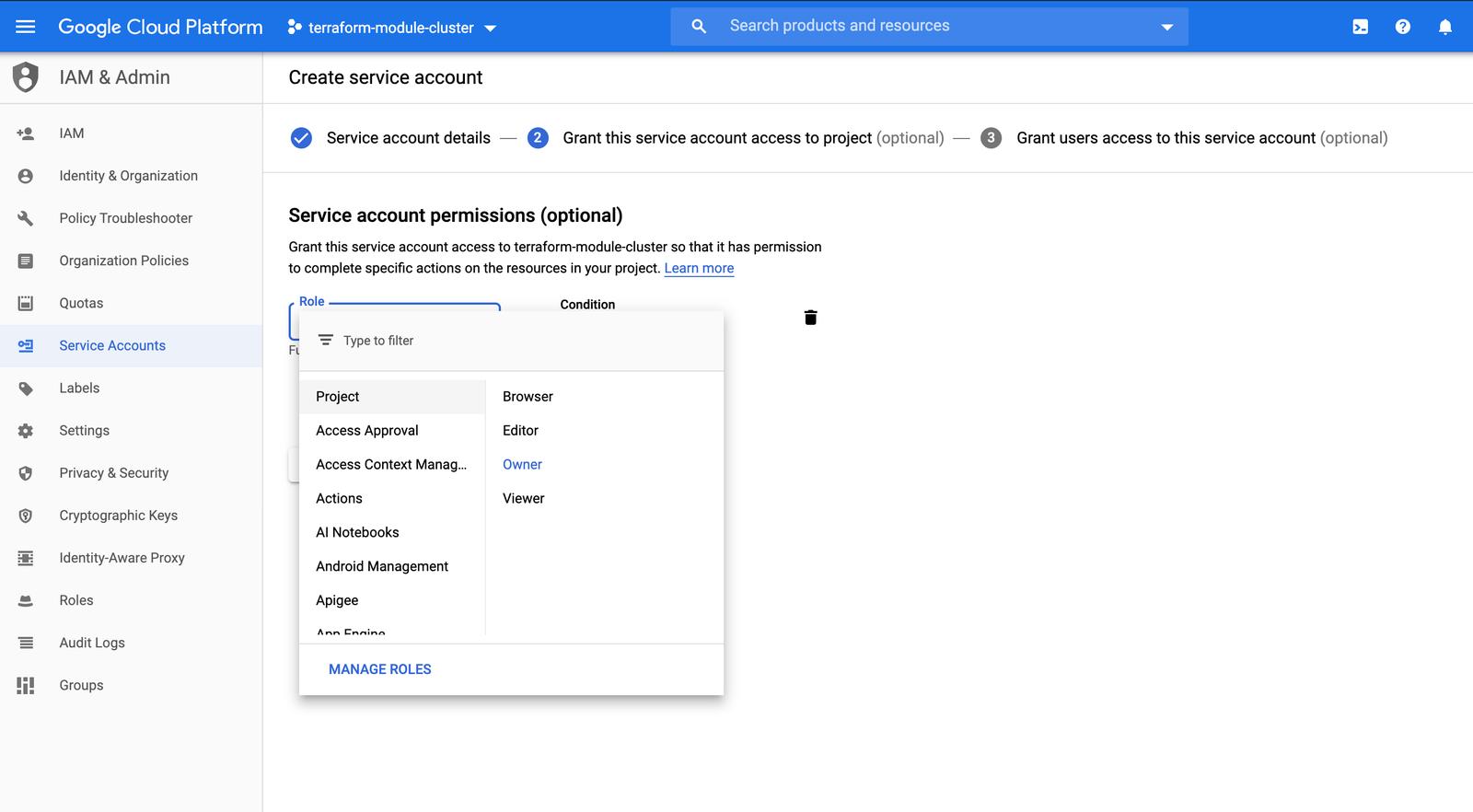GCP Service Accounts Role ScreenShot