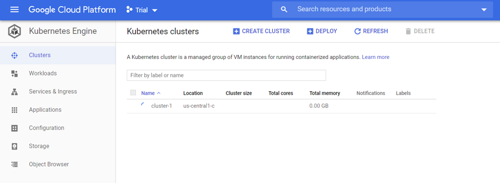 Kubernetes cluster-1 screenshot