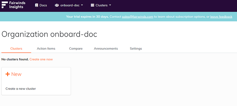 Fairwinds Insights screenshot of creating a cluster dashboard